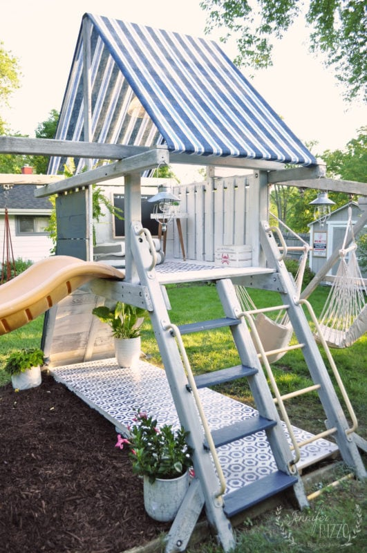 Playset makeover to a teen hangout
