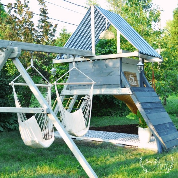 Chair hammocks for a teen hangout on an old playset