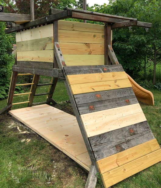 Play set swing set renovation with an under deck