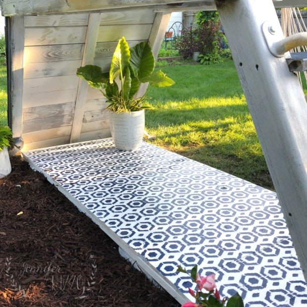 Stenciled lower deck on a playset