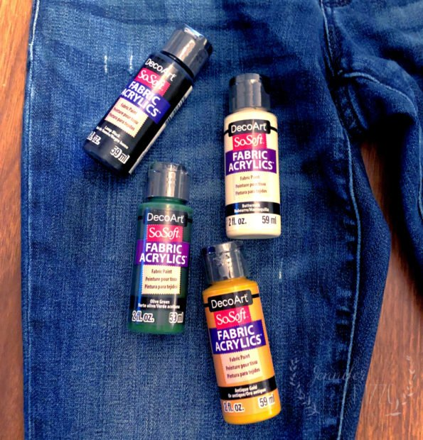Supplies to paint upcycled jeans