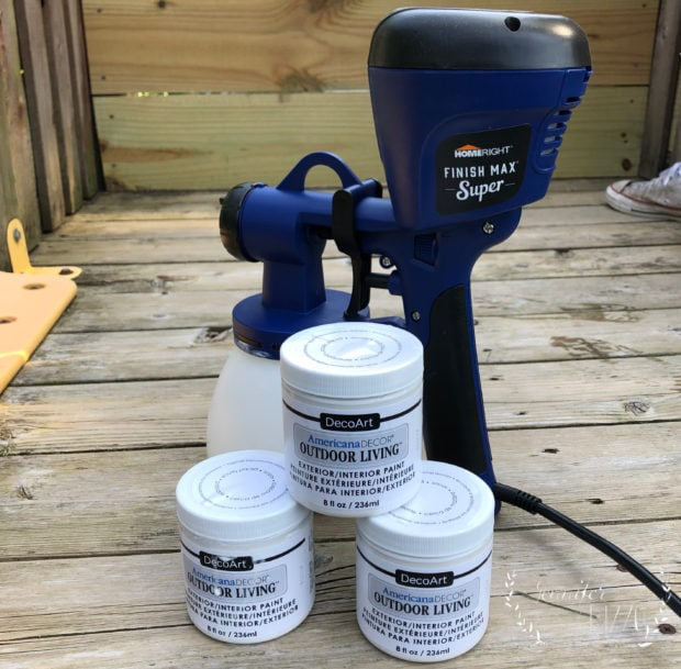 Outdoor paint and a paint sprayer for our playset renovation