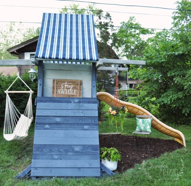 Playset makeover with replaced fabric canopy