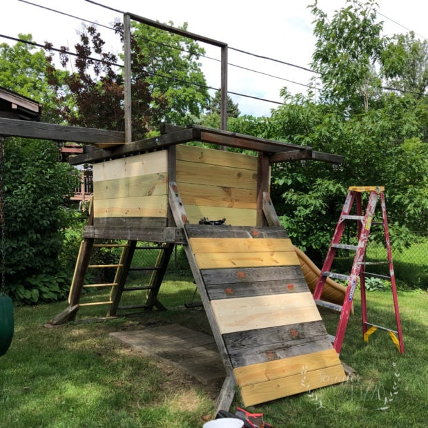 Wood play set renovation with added boards
