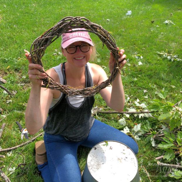 Making a DIY twig wreath