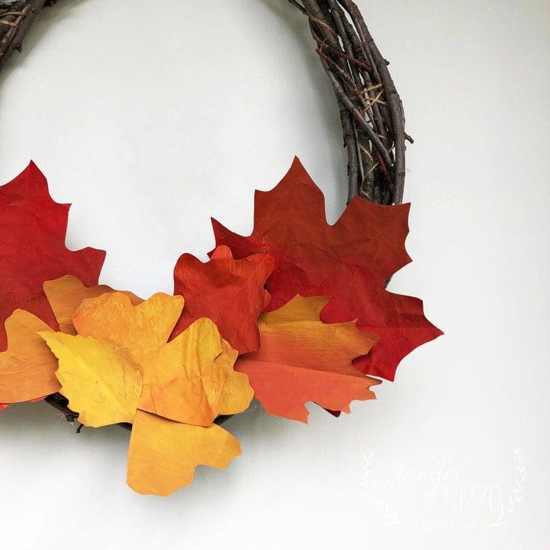 Painted Paper Leaf Embellishments on a DIY Twig Wreath