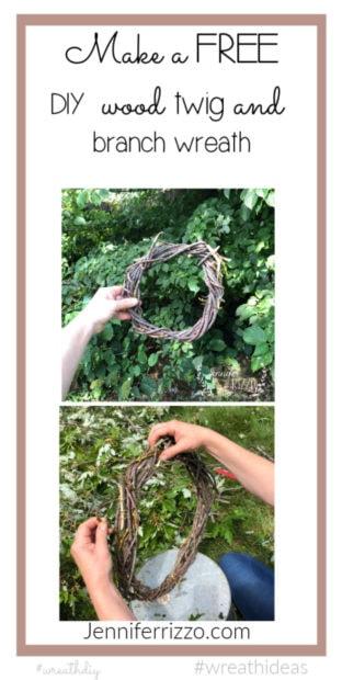 Tree branch wreath DIY
