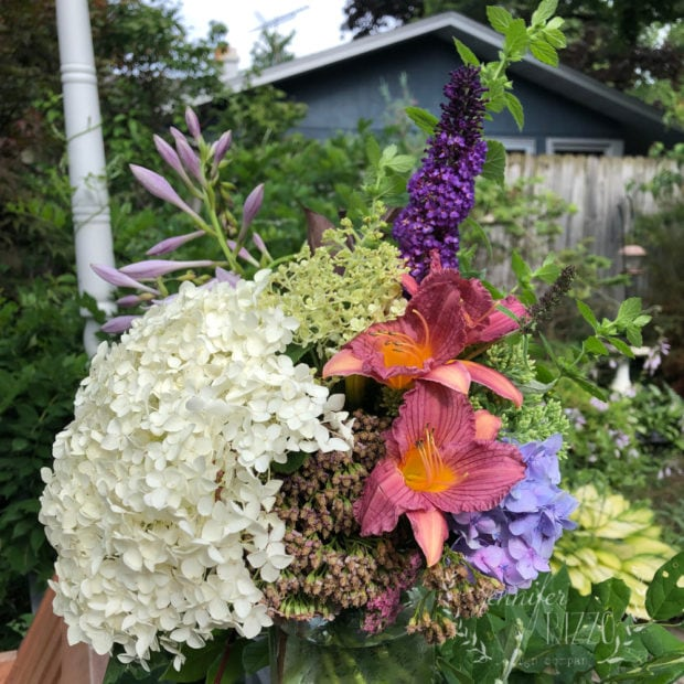 Backyard arrangement with hydrangea and butterfly bush
