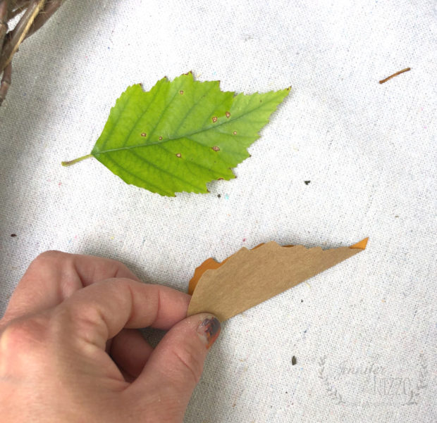 Fold paper leaves to make them more realistic