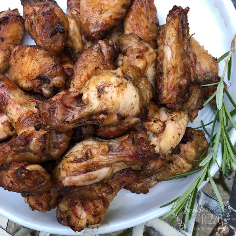 Lemon Rosemary Garlic Barbecue Chicken Wings