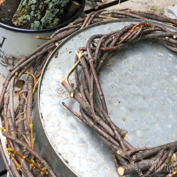 Let DIY twig wreaths dry about a week before using