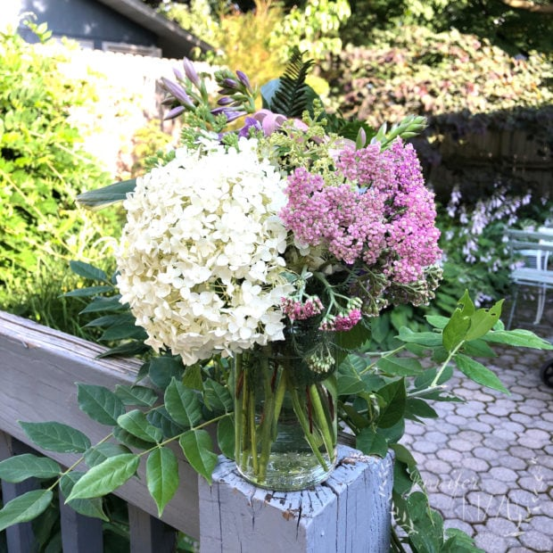 Hydrangea and yarrow floral arrangement