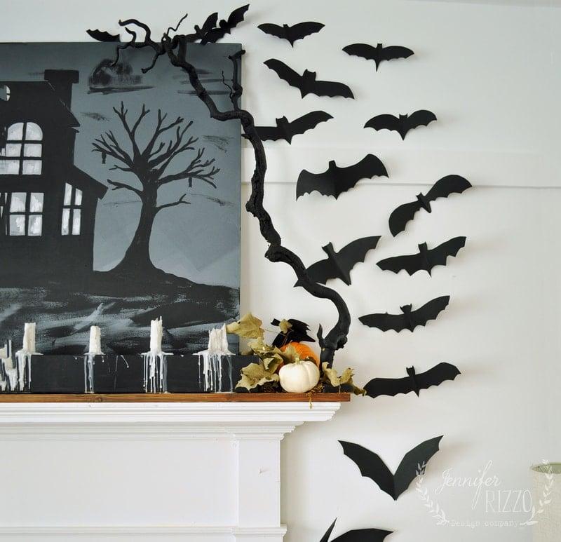 Spray Painted Spooky Tree Halloween Decor
