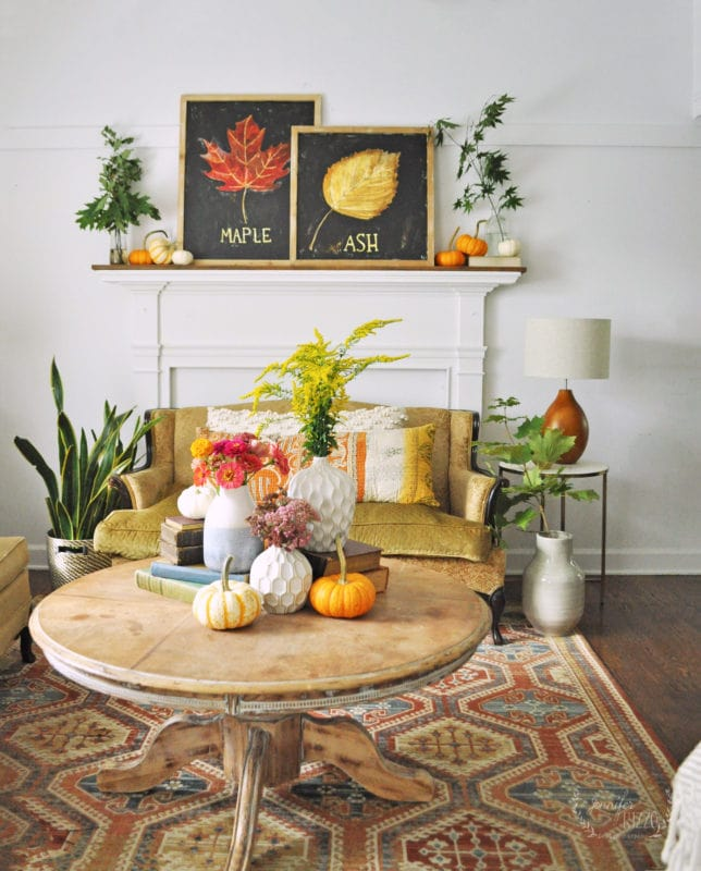 Early Fall Mantel Decor