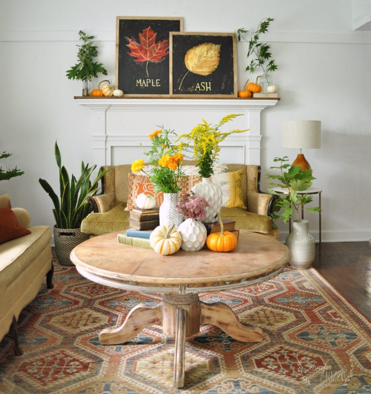 Early Fall decorating idea with natural touches
