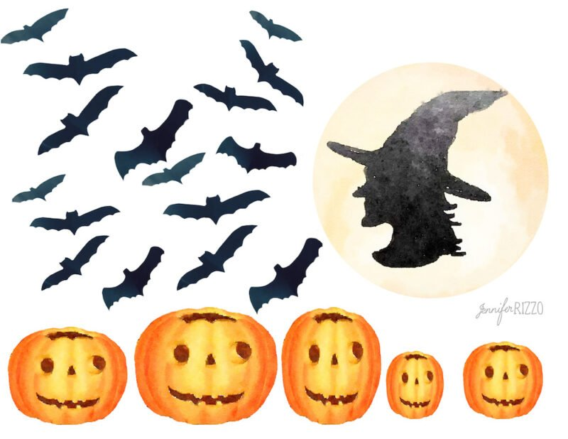 Free Halloween printable of bats witch in the moon and halloween pumpkins