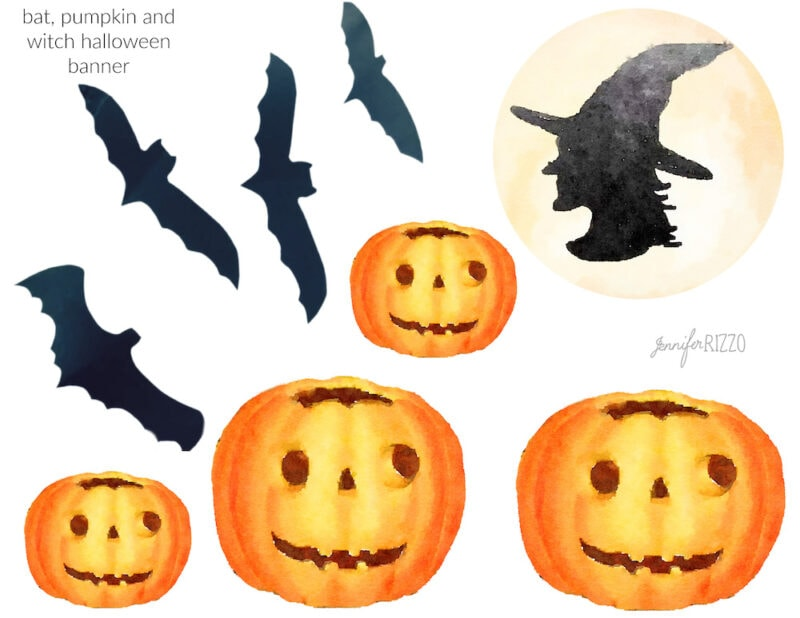 Free Halloween printable of bats witch in the moon and halloween pumpkins halloween banner