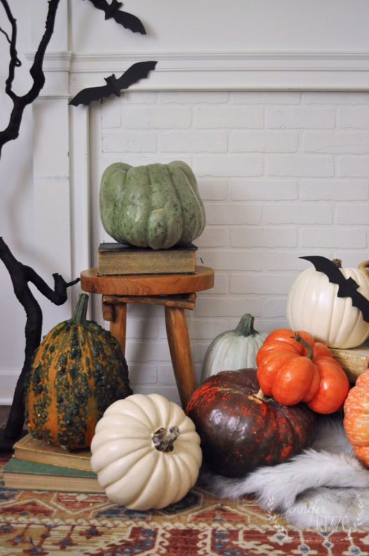 Wood stool with a pumpkin for fall decorating idea