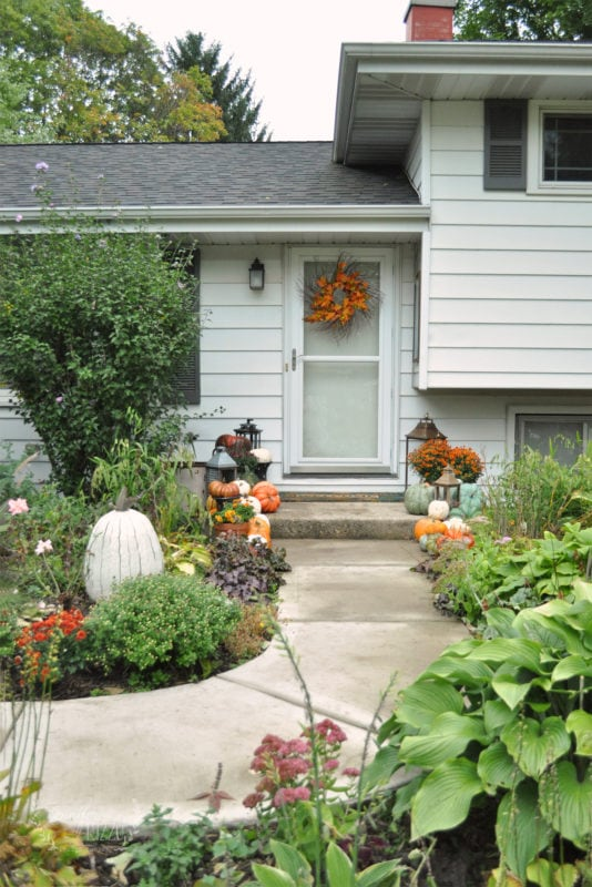 Front walk and step with fall decor