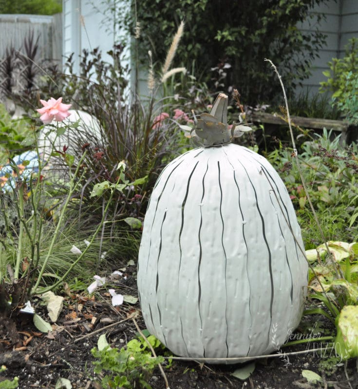 Giant metal pumpkin for fall decor