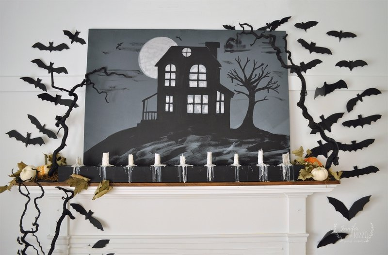 Embossed Haunted House Canvas and Halloween Mantelscape