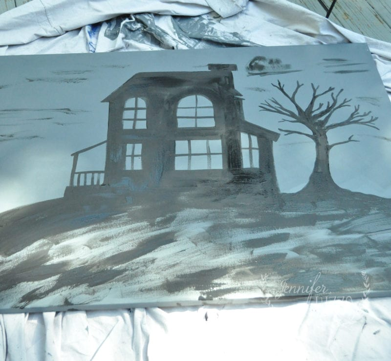 Painted haunted house outline