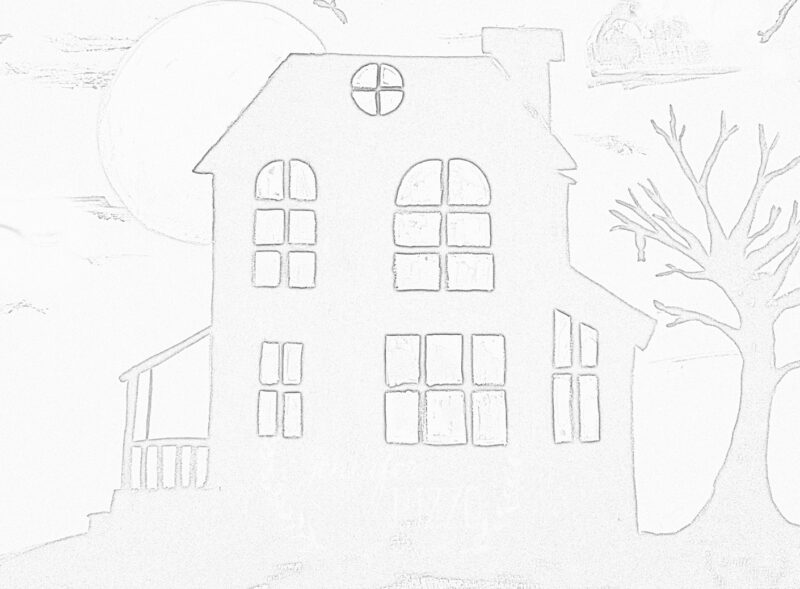 Haunted house free printable sketch template