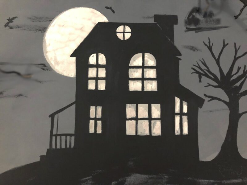 Free Haunted House Painting Free Printable for you Halloween Decor!