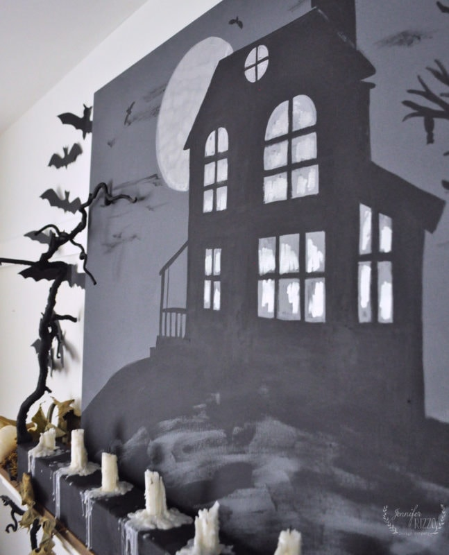 Painted an embossed haunted house canvas