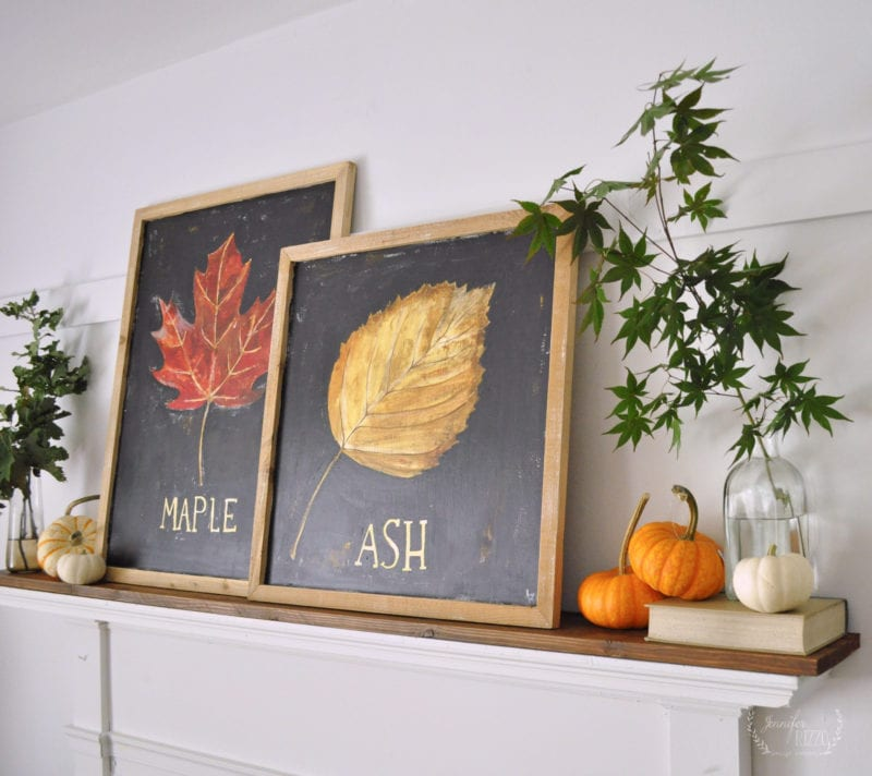 Fireplaec mantel with natural decor