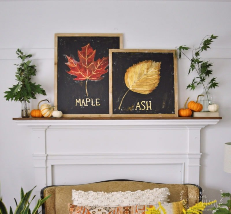 Fall mantel decor with paintings