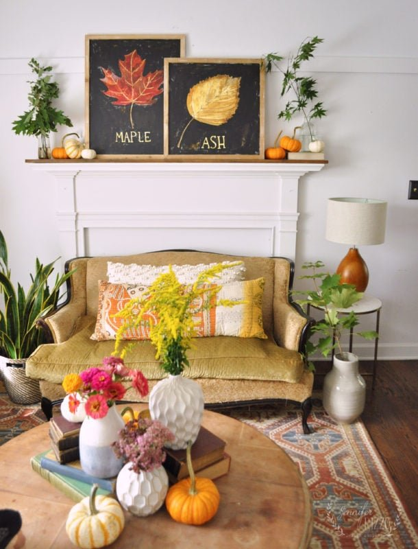 Early fall decor with flowers and natural elements