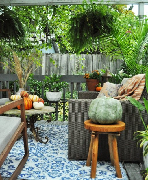 Outdoor deck decor with pumpkins