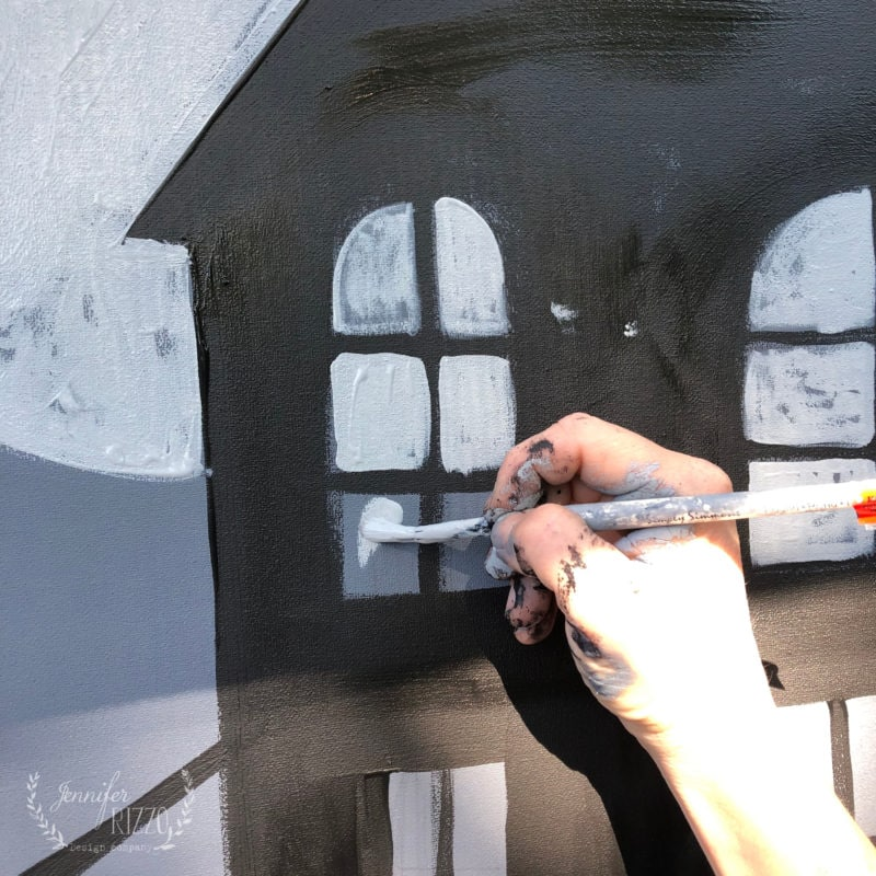 Paint in windows with gray paint
