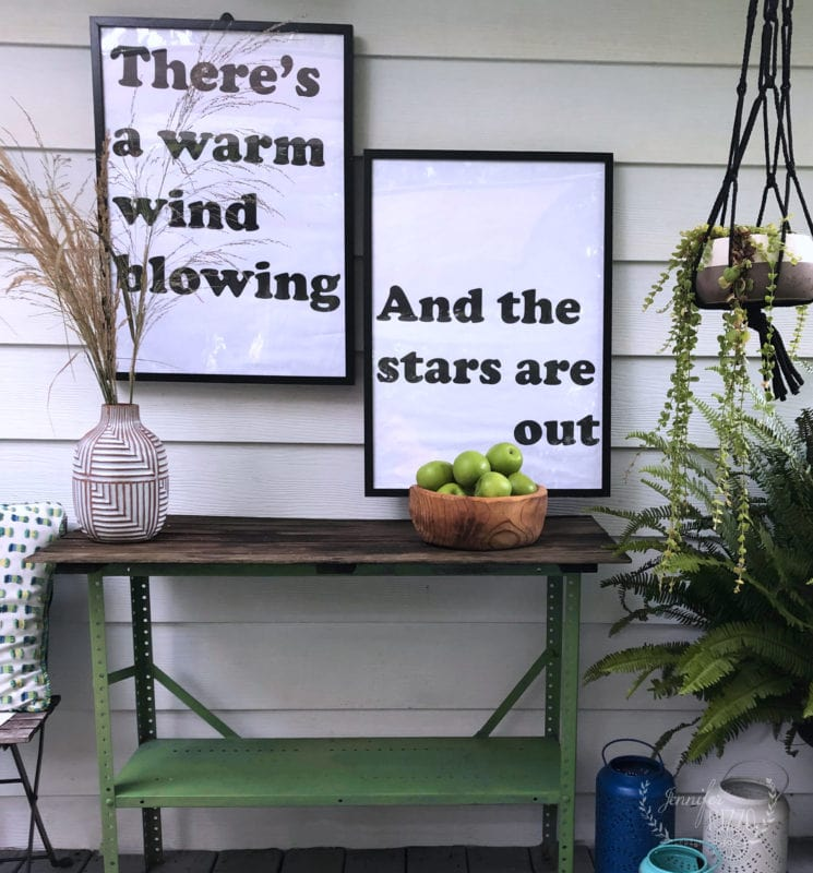 Large prints and metal table makeover