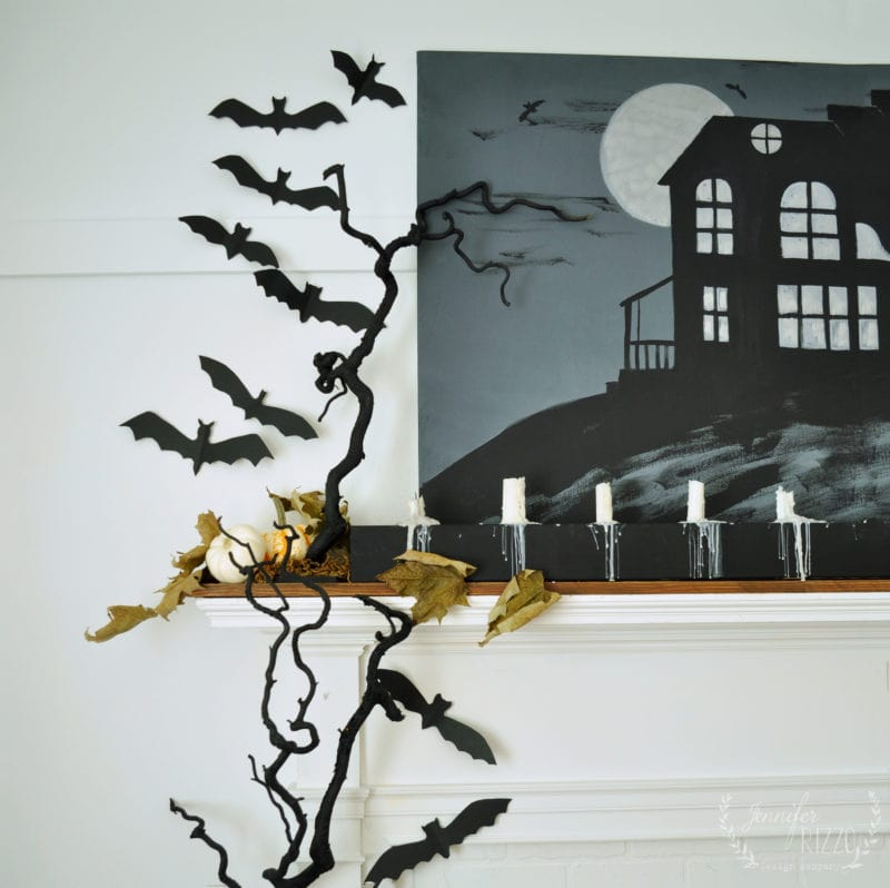 Halloween mantelscape with paper bats
