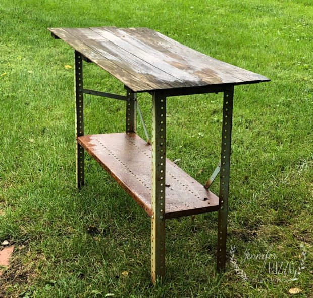Old metal workbench makeover