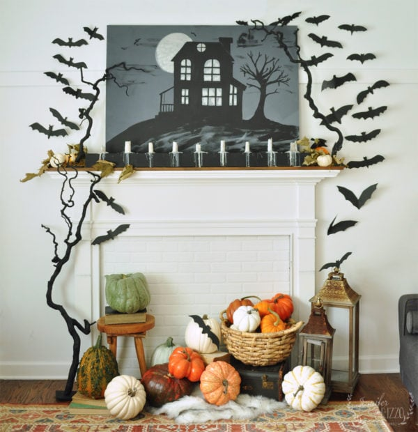 Spooky Halloween Faux Fireplace idea with bats and pumpkins Jennifer Rizzo