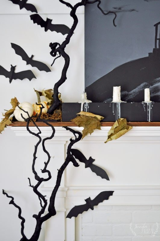Spooky painted branches for Halloween