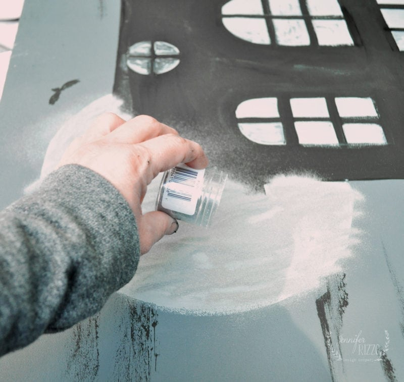 After applying water, sprinkle with embossing powder