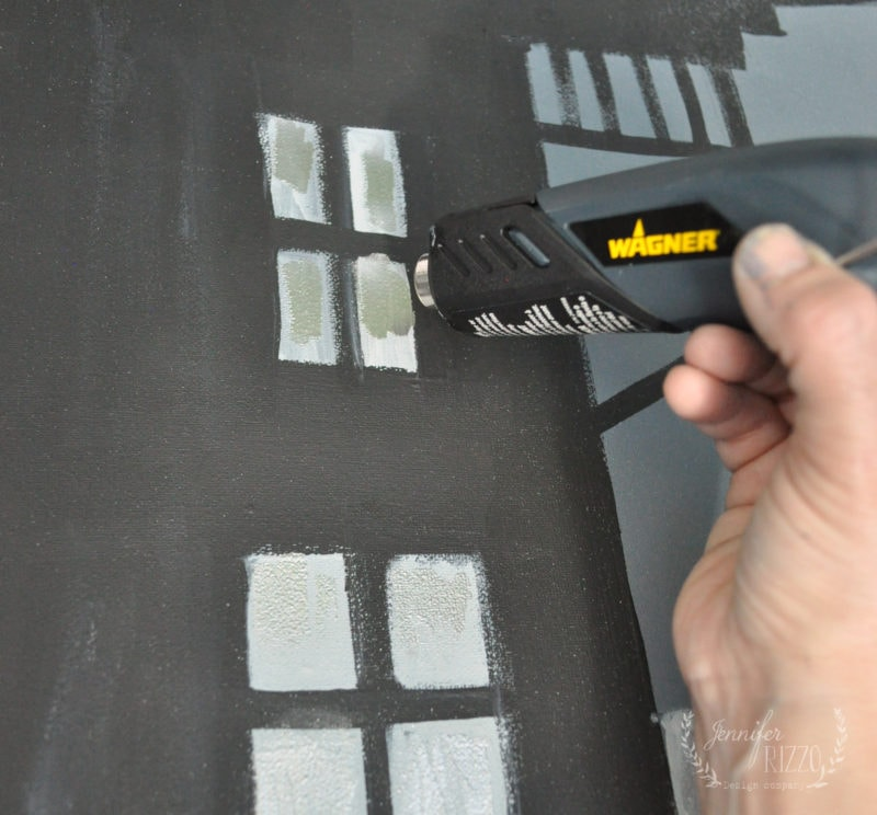 Using a heat gun with embossing powder on a canvas