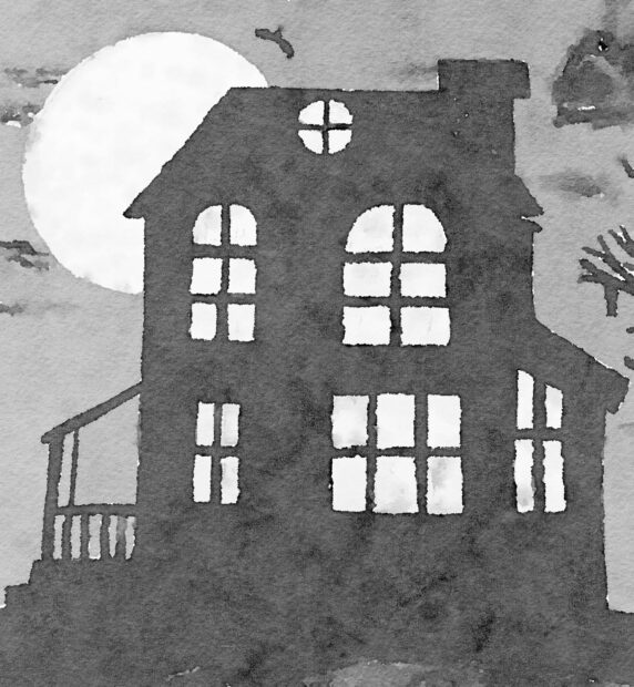 Watercolor haunted house image free printable for personal use by Jennifer Rizzo