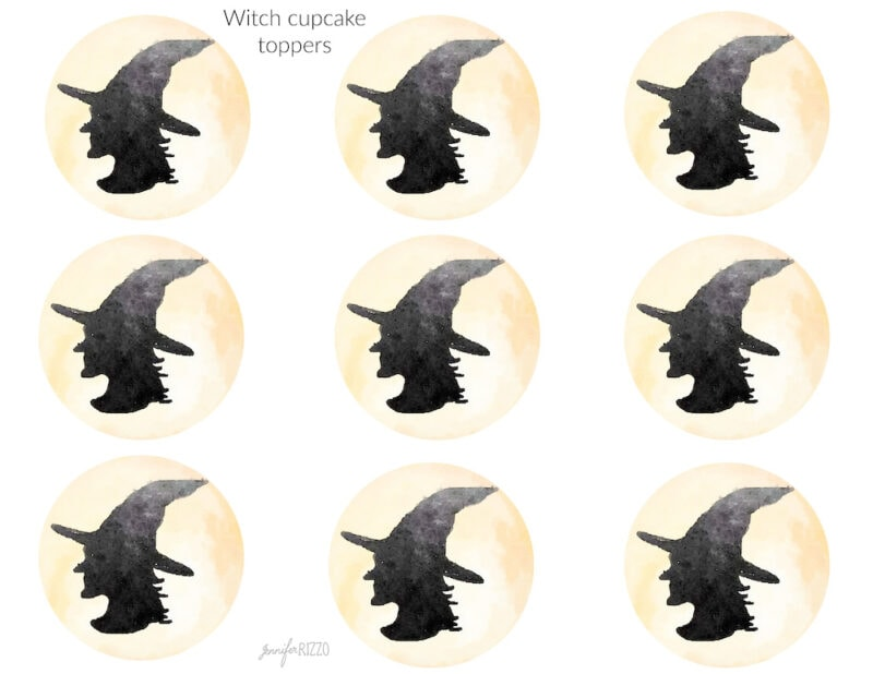 Witch head cupcake toppers