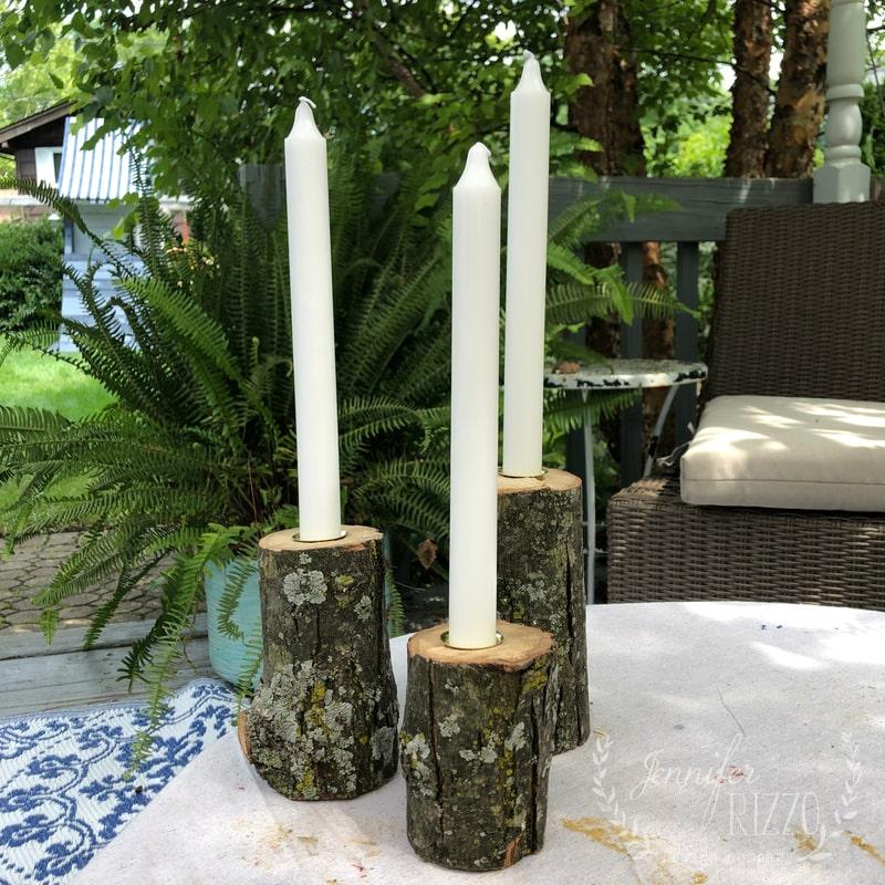 Rustic Wood Branch Candlsticks