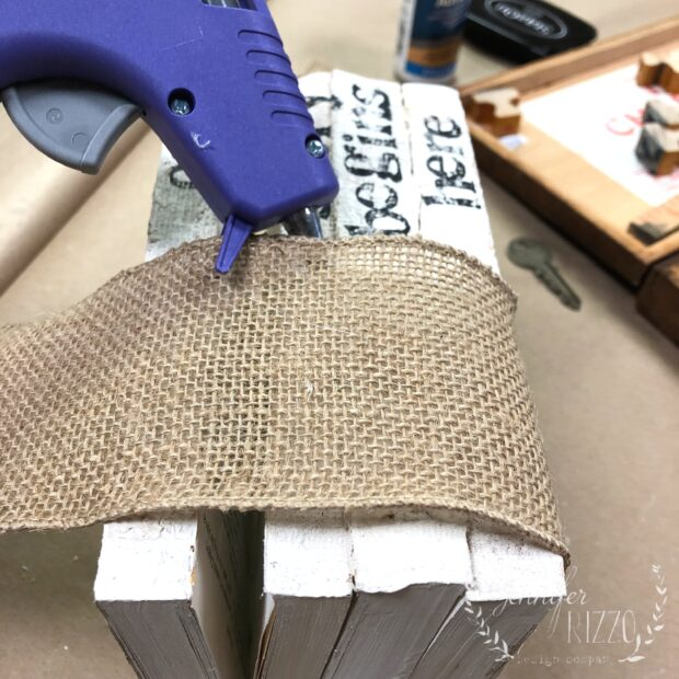 Hot glue burlap on for embellishment onto your stamped book stack