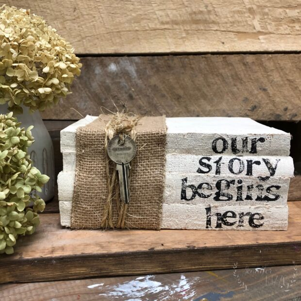 DIY upcycled stamped book set for display or home decor