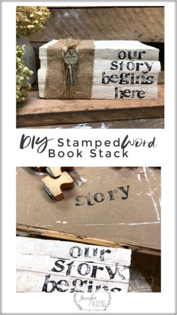 Create a DIY upcycled stamped book stamp with a personal message from old books