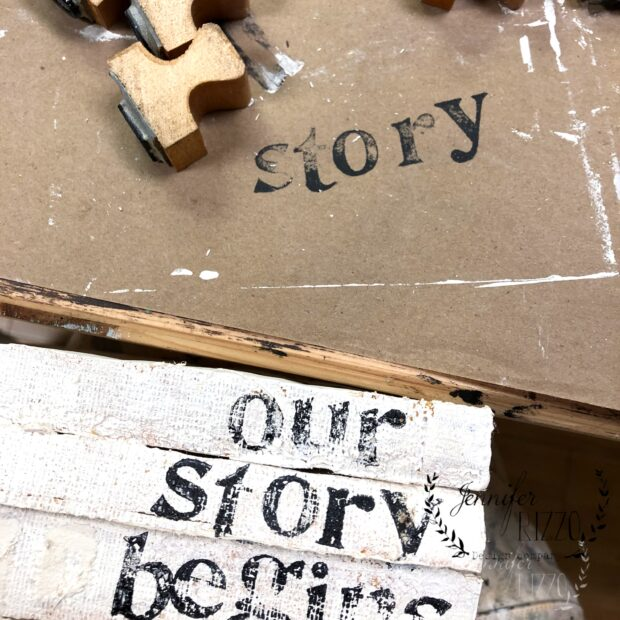 Use letter stamps to stamp words on books DIY