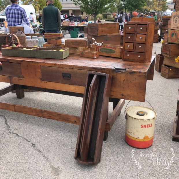 Vintage workbench at market