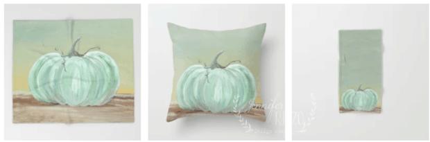 Jennifer Rizzo Blue Pumpkin PIllow for Fall